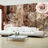 Fotobehang - Hout en rozen