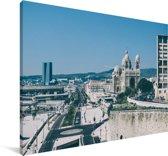 Weergave van Marseille in Frankrijk Canvas 120x80 cm - Foto print op Canvas schilderij (Wanddecoratie woonkamer / slaapkamer) / Europese steden Canvas Schilderijen