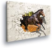 Horse Forest Brick Wall Hole Brown Canvas Print 100cm x 75cm