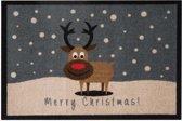Deurmat kerst Merry Christmas rendier Wasbaar 30°C 40x60 cm