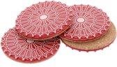 MoreThanHip Batalha - set 4 luxe onderzetters van keramiek en kurk - rood