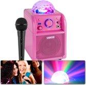Karaokeset - Vonyx SBS50P - Roze karaokeset met Bluetooth, echo en microfoon