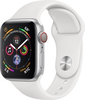 Apple Watch Series 4 GPS Cell 40mm zilver alu witte band