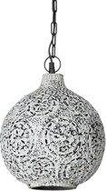 relaxdays hanglamp wit patina, shabby plafondlamp, pendellamp, kogel, bolvormig