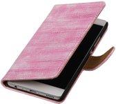 Roze Mini Slang booktype wallet cover hoesje voor Huawei P9 Plus