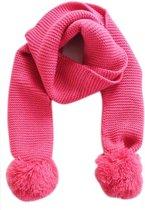 Gebreide sjaal met pompons pink