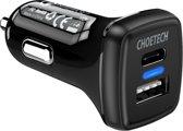 Choetech - Quick Charge 3.0 Autolader - 1x USB-C laadpoort -  1x USB-A laadpoort - 36W - 3A - LED-indicator -  Zwart