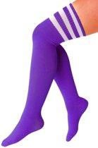 Lange sokken paars met witte strepen - 36-41 - kniekousen paarse overknee kousen sportsokken cheerleader voetbal hockey festival