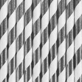 Gestreepte rietjes van papier zilver/wit 10 stuks