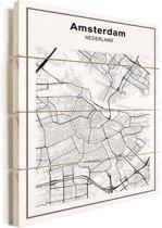 Stadskaart - Amsterdam vurenhout 60x80 cm - Plattegrond