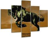 Glasschilderij Paard | Bruin, Groen, Zwart | 100x70cm 5Luik | Foto print op Glas |  F002666