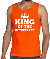 Oranje King of the afterparty tanktop / mouwloos shirt heren - Oranje Koningsdag kleding S