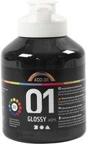 A-color Glossy acrylverf, zwart, 01 - glossy, 500 ml
