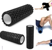 Fitness Foam Roller - Yoga Workout Roll - Pilates / Body Rug Massage Rol The Grid Roller - 34CM Zwart