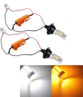 2 STKS 1156 / BA15S / BAU15S 10W 1000 LM 6000K Wit + Geel Licht DRL & Turn Light met 42 SMD-2835-LED Lamp, DC 12-24V