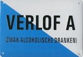 Verlof A - zwak alcoholische dranken Muurschild 14,5x10 cm