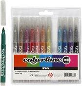Colortime glitterstiften, lijndikte: 4,2 mm, diverse kleuren, 12stuks