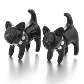 Trendy oorbellen knopjes schattige kat twee onderdelen