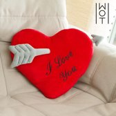 Wagon Trend Kussen Hartvormig I Love You Met Pijl 35 cm