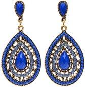 Fako Bijoux® - Oorbellen - Bohemian - Druppel - Donkerblauw