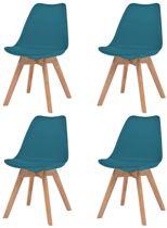 Eetkamerstoelen Turquoise 4 STUKS Kunstleer / Eetkamer stoelen / Extra stoelen voor huiskamer / Bezoekersstoelen