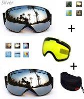 Ski & Snowboard bril / Goggle met EXTRA lens Smoke Zilver frame Zwart F type 7 Cat. 0 tot 4 - ☀/☁