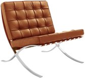 Cognac Barcelona expo Chair Fauteuil Premium Leather