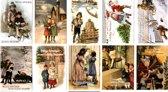 50 Luxe Kerst- en Nieuwjaarskaarten - 9,5x14cm  - 10 x 5 dubbele kaarten met enveloppen - serie Nostalgisch