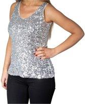 Zilveren glitter pailletten disco topje/ hemdje/ mouwloos shirt dames - Zilveren Topper glitter carnaval/ verkleed kleding