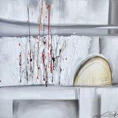 Schilderij grijs abstract 70x70