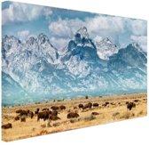 Grand Teton Mountains Amerika Canvas 180x120 cm - Foto print op Canvas schilderij (Wanddecoratie woonkamer / slaapkamer) XXL / Groot formaat!