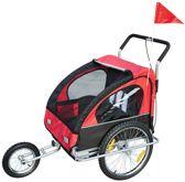 Kinderfietskar en wandelwagen 2-in-1/ Jogger Rood/Zwart