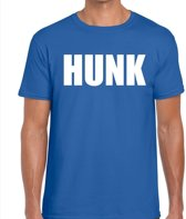 Hunk tekst t-shirt blauw heren M