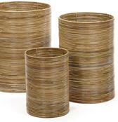 Maison Péderrey Rieten mand-Cylinder mand-Ringen mand Bamboe-Riet Bruin-Beige-Naturel-Grijs D 30 cm H 40 cm  (Mand midden voor op foto)