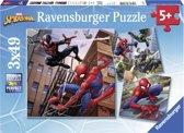 Ravensburger Spiderman in actie - Drie puzzels van 49 stukjes - kinderpuzzel
