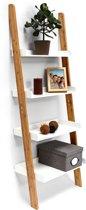relaxdays - ladderrek bamboe - traprek - opbergrek - ladder rek wit - houten rek