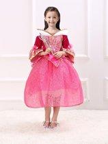 Roze prinsessenjurk maat 140 gratis kroon + staf (labelmaat 150)