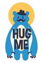 Hug Me: Cute Bear with Mustache, Blank Lined Journal - 6 x 9 In, 120 Pages