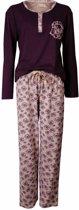 Dames pyjama van 100 % gekamde katoen in een warme winter kwaliteit. Paars K11.