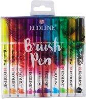 Talens Ecoline set van 10 Brush Pennen + 1 Ecoline Blender alles verpakt in een handige A4 Zipperbag