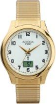 Radio controlled goudkleurige heren horloge met datum-met rekband-van het merk Adora -AF7106