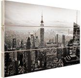 New York City zwart-wit  Hout 120x80 cm - Foto print op Hout (Wanddecoratie)