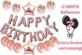 Happy Birthday Ballonnen - 25 Verjaardags ballonnen - Rose Goud Confetti  + 2 Extra Verrassingsballonnen - confetti ballonnen - feesten - verjaardag - decoratie - ballon decoratie