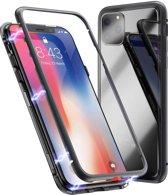 Cacious - iPhone 11 Pro Hoesje - Aluminium Metalen Bumper - Adsorption Case - High-Impact Full Body Cover (Zwart)