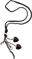 Lange zwarte ketting van gevlochten touw.