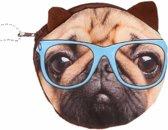 Portemonnee bruine mopshond blauwe bril 10 x 11 cm