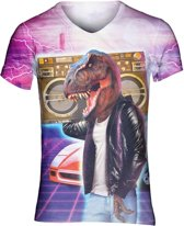 Boombox T-rex festival shirt - V-hals, L