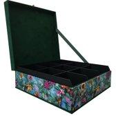 The Box For Tea  Vlinder Theedoos - 9 vakken - Groen