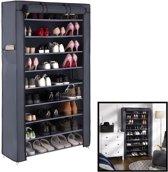 Schoenenrek XXL voor 40 paar schoenen - Met hoes - Opbergsysteem van metaal met kunststof verbindingen - Organizer voor schoenen opbergen - Staand opbergrek - Schoenenkast Grijs - Decopatent®