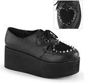 Grip-02 plateau shoe with heart cut out detail and studs black - (EU 39 = US 9) - Demonia